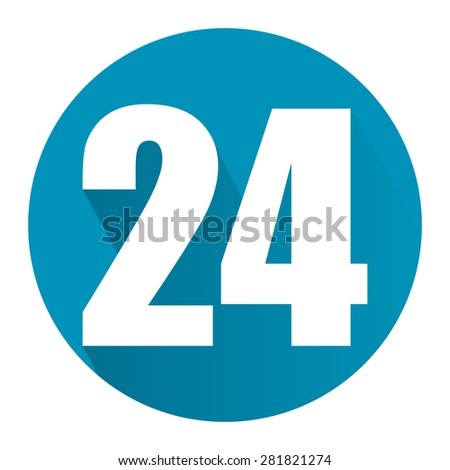 Blue Circle 24, 24HR, 24HRS, 24 Hours Service, 24 Hours Open Long Shadow Style Icon, Label, Sticker, Sign or Banner Isolated on White Background - stock photo