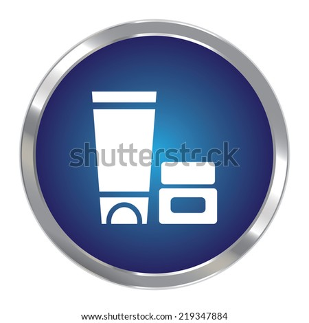 Blue Circle Metallic Cosmetic Container Icon or Button Isolated on White Background  - stock photo