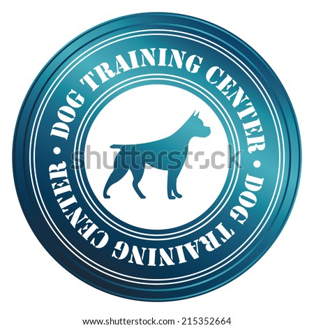 Blue Circle Metallic Style Dog Training Center With Dog Sign Icon, Sticker or Label Isolated on White Background