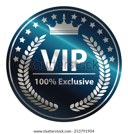 blue circle metallic vip 100% exclusive badge, sticker, banner, sign, icon, label isolated on white - stock photo