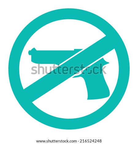 Blue Circle No Gun Prohibited Sign, Icon or Label Isolate on White Background  - stock photo
