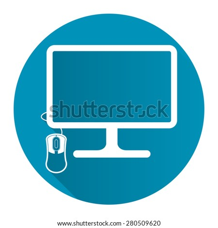 Blue Circle PC Computer Monitor with Mouse Flat Long Shadow Style Icon, Label, Sticker, Sign or Banner Isolated on White Background - stock photo