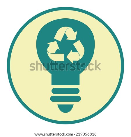 Blue Circle Recycle Light Bulb Retro Icon, Button or Label Isolated on White Background