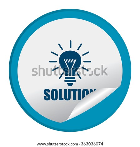 Blue Circle Solution Product Label, Infographics Flat Icon, Peeling Sticker, Sign Isolated on White Background  - stock photo