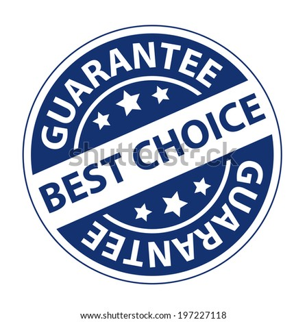 Blue Circle Vintage Style Best Choice Guarantee Icon, Sticker or Label Isolated on White Background
