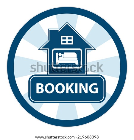 Blue Circle Vintage Style Hotel, Motel ,Resort or Apartment Booking Sign, Icon, Sticker or Label Isolated on White Background - stock photo