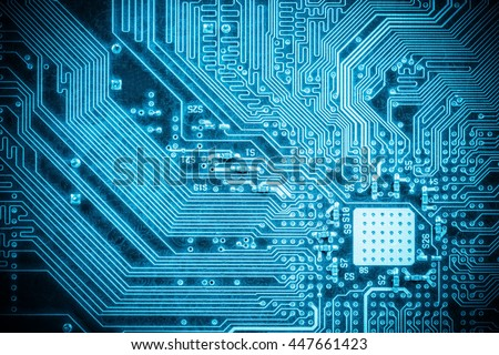 blue circuit board closeup, abstract high tech background