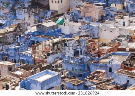 Blue city buildings of Jodhpur, India - stock photo