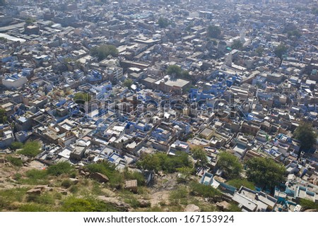 blue city view Jodhpur in Rajasthan, India