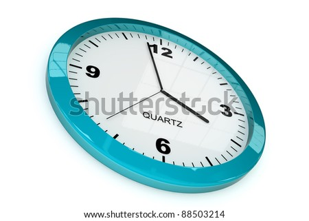 blue classic office clock on white background
