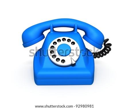 Blue Classic Phone - stock photo