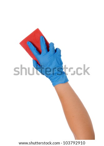 Blue cleaning gloves with a sponge against a white background - stock photo