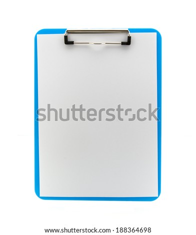 Blue Clipboard on a white background - stock photo