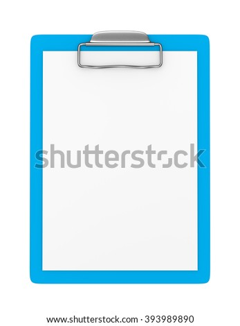 Blue Clipboard with Blank Paper Isolated on White Background 3D Illustration