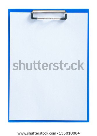 blue clipboard with sheet of paper - stock photo