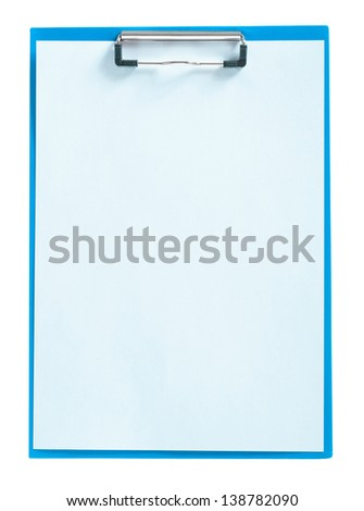 blue clipboard with sheet of paper isolated - stock photo