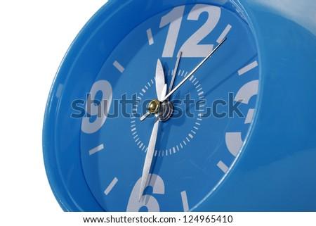 Blue clock macro - stock photo
