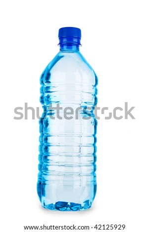 blue closed bottle with water isolated