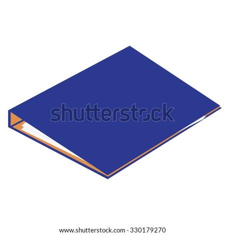 Blue closed cardboard folder raster isolated, file folder, document case, blocknote - stock photo