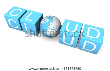 Blue cloud computing sign made of cubes and planet isolated on white background