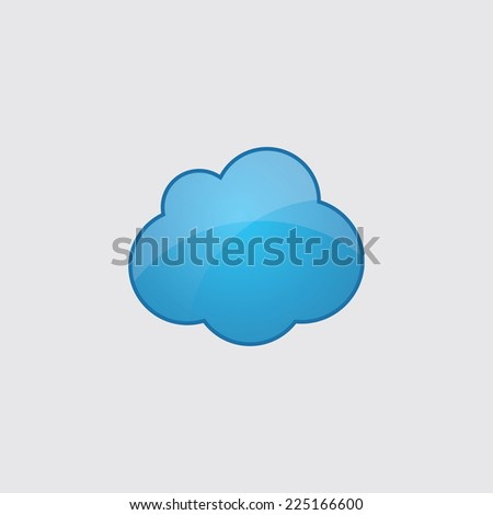 Blue cloud icon, isolated on gray background