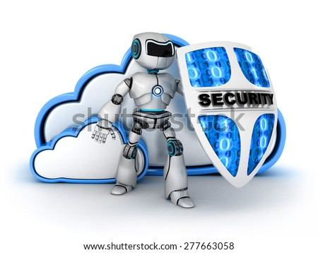 Blue Cloud security (done in 3d) - stock photo