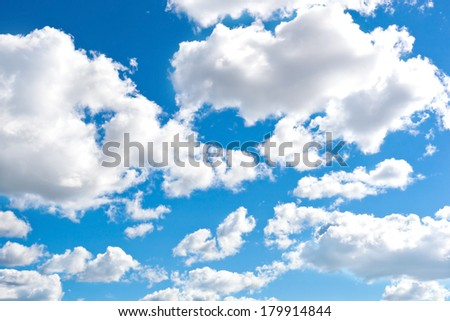 Blue cloudly sky background - stock photo