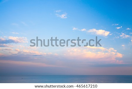 Blue cloudy sky at evening. Background photo texture