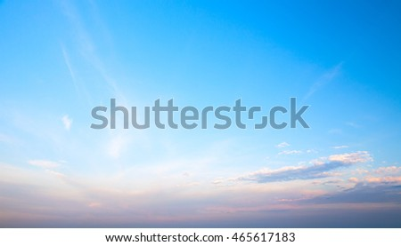 Blue cloudy sky at evening. Natural background photo texture
