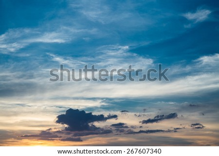 Blue cloudy sky before sunset - stock photo