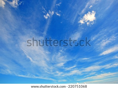 Blue cloudy sky on morning - stock photo