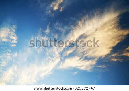 Blue cloudy sky with clouds on sunset.fabulous sky with clouds in the rays of the setting sun.