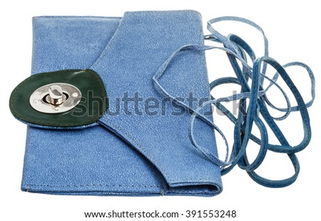 blue clutch bag from natural stingray leather isolated on white background - stock photo