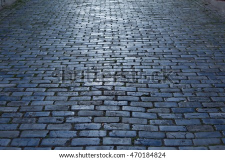 Blue Cobblestone Paved Street in Old San Juan, Puerto Rico