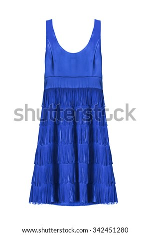 Blue cocktail dress with fringe isolated over white - stock photo