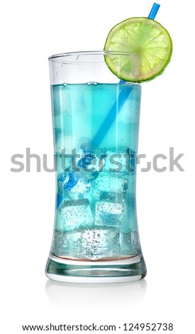Blue cocktail in a glass isolated on a white background - stock photo