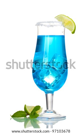 Blue cocktail in glasses with ice and sugar isolated on white - stock photo