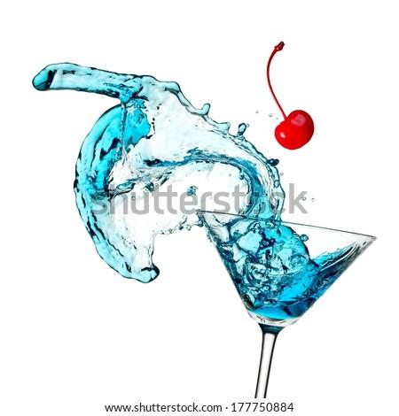 Blue cocktail splash - stock photo
