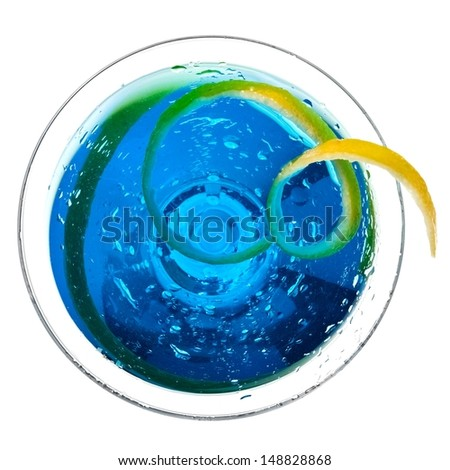 Blue cocktail, top view - stock photo