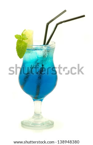blue cocktail with lime and mint - stock photo