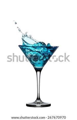 Blue cocktail with splash isolated on white background.  - stock photo
