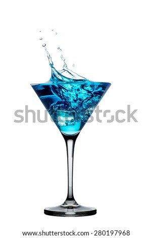 blue cocktail with splashes isolated on white background - stock photo