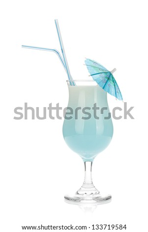Blue coconut cream cocktail. Isolated on white background