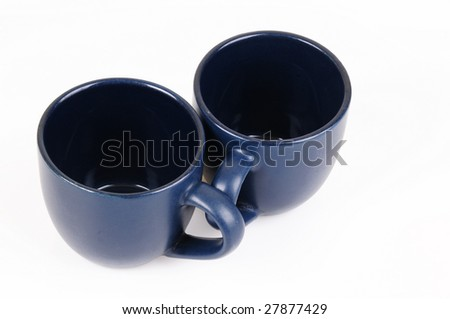 blue coffee cup on a white background