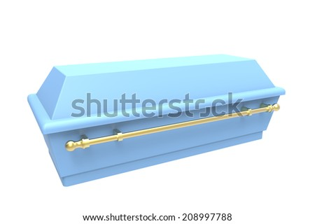 Blue coffin, isolated on white, 3d render - stock photo