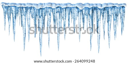 Blue cold icicles with an alpha channel - stock photo