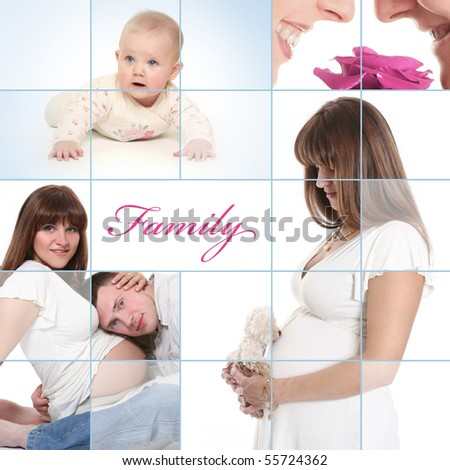 blue collage with young family - stock photo