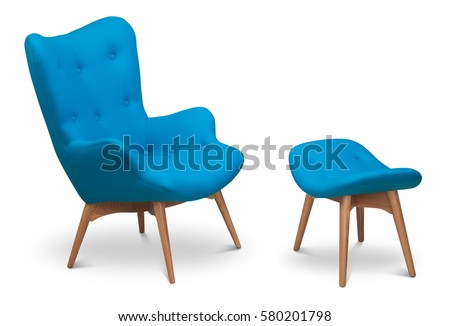 Blue Color Armchair And Small Chair For Legs. Modern Designer Armchair On  White Background.