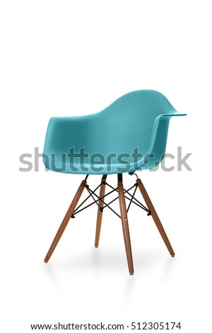 Blue color chair, modern designer chair isolated on white background. Plastic chair