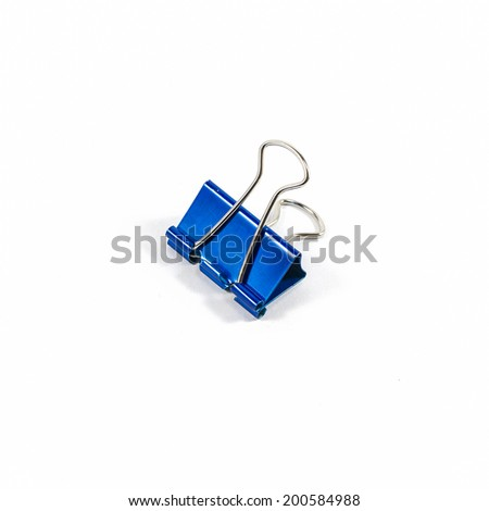 blue color clips isolated on white background - stock photo